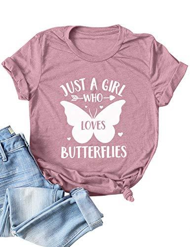 Dresswel Just A Girl Who Loves Butterflies T-Shirt Damen Sommer Oberteile Schmetterling Grafikdruck Shirt Kurzarm Tee Tops