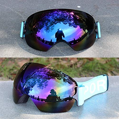 N\A Gafas de esquí profesionales para deportes al aire libre, lentes UV400 para adultos, antivaho, snowboard, esquí, para mujer, ultraligeras, para invierno, para nieve, color azul