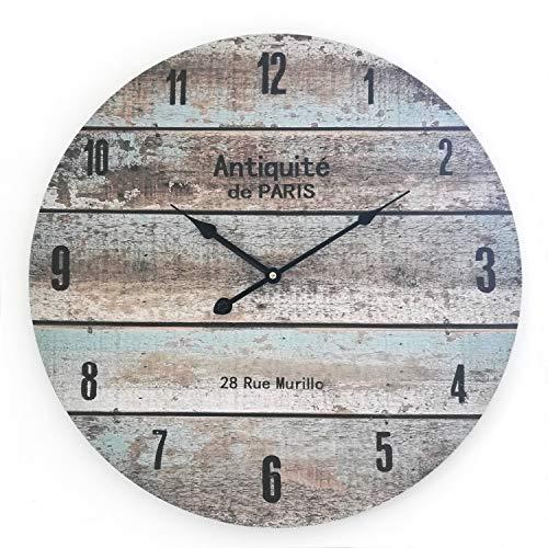 Rebecca Mobili wandklok in landelijke stijl, decoratieklok in vintage design, MDF, rond – afmetingen: diameter 60 cm x breedte 4,5 cm – artikelnummer RE6138