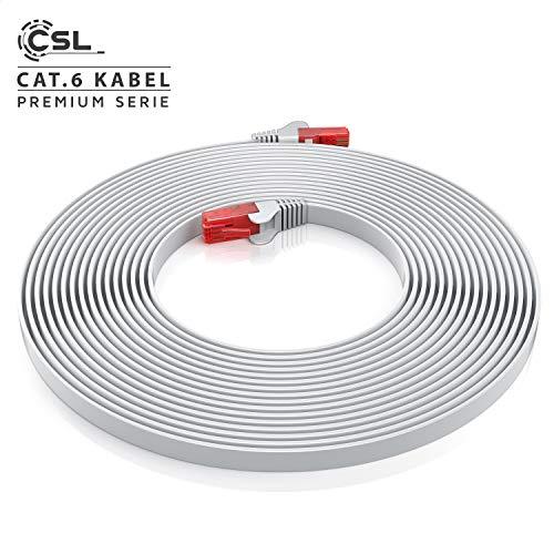 20m - CAT.6 Ethernet Gigabit Lan Netzwerkkabel Flachbandkabel Verlegekabel RJ45 - 10 100 1000Mbit s - Patchkabel flach - kompatibel zu CAT.5 CAT.5e CAT.7 - Switch Router Modem Patchpannel Access Point Patchfelder