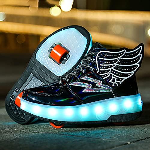 XJBHD Zapatillas de Patines con Ruedas LED Light-UP, Zapatillas de Led para Unisex Niños Niñas, USB Recargable, Ruedas Dobles Individuales Retráctiles, Zapatillas de Deporte Al Aire Libre