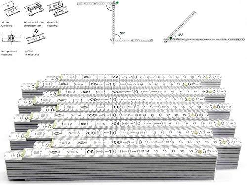 50 Stk. Adga 250 plus Qualitäts Meterstab weiss 2m Holz Winkelübersicht 90 180 Grad Rastung gerade Anreißkante