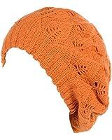 BYOS Winter Chic Warm Double Layer Leafy Cutout Crochet Knit Slouchy Beret Beanie Hat (Orange Leafy)