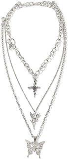 Lock Key Pendants Chains Necklace Set Butterfly Multilayer Chains Punk Choker Layered Lock Key Pendants Necklaces Pants Pu...