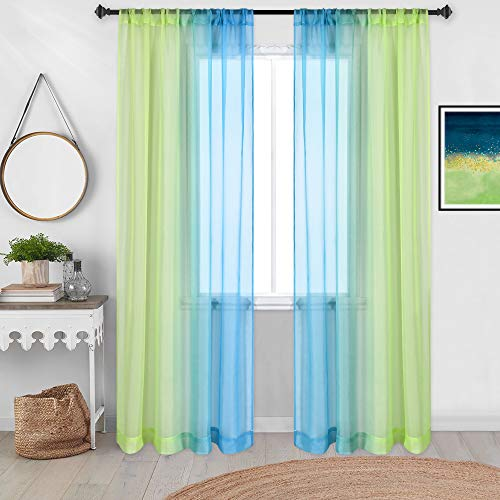 DECOVSUN Green Blue Sheer Ombre Curtains 84 Inch Length for Living Room Set 2 Panels Rod Pocket Window Christmas Curtains Unique Hawaii Scenic Sunset Bright Drapes for Bedroom Basement Nursery 52X84