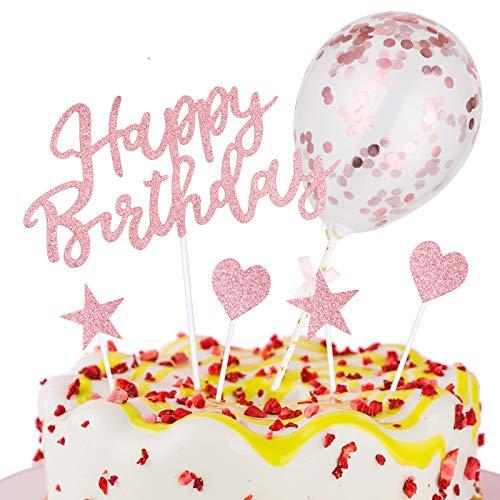 2PCS Happy Birthday Garland + 20PCS Stars Cake Topper + Topper Confetti Balloon Cake Decoration Set for Birthday Decoration (Pink)