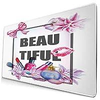 KIMDFACE 大型 マウスパッド 花輪と化粧品のテーマリボンで美しいテキスト 個性的 おしゃれ 柔軟 かわいい ゲーミングマウスパッド PC ノートパソコン オフィス用 デスクマット 滑り止め 特大 マウスマット