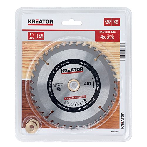 KREATOR KRT020407 - Disco de sierra madera 150mm40d