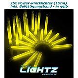 Power Lightz 25 Stück Power-Knicklichter (1,5 x 15 cm) in gelb mit Haken und Befestigungsband, sehr...