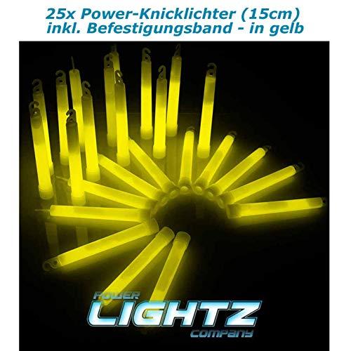 Power Lightz 25 Stück Power-Knicklichter (1,5 x 15 cm) in gelb mit Haken und Befestigungsband, sehr robust und lange leuchtend für Outdoor, Freizeit, Camping, Tauchen oder Notlicht