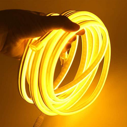 XUNATA 12V Flexible LED Neon Amarillo, 5m Impermeable 2835 Tira de LED Strip Light, Luz de la Cuerda para Exterior Fiestas Decoración Party Sign Publicidad Firmar