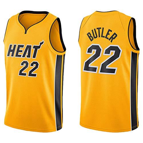 KJX Camiseta de baloncesto Miami para hombre, 2021 nueva temporada 22# Butler Yellow City Edition Jersey, unisex, casual, deportes, camisetas sin mangas, camiseta (S-XXL) M