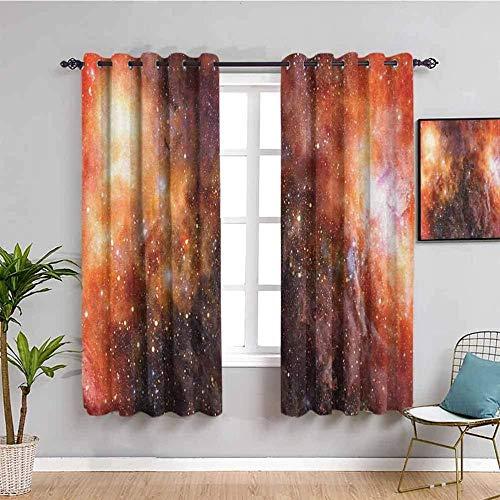 LucaSng Blickdicht Vorhang Wärmeisolierender - Rot Planet Galaxie Sternenhimmel - 140x160 cm Junge mit Mädchen Schlafzimmer Wohnzimmer Kinderzimmer - 3D Digitaldruck mit Ösen Thermo Vorhang