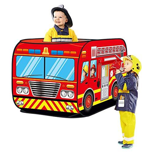 K9CK Spielzelt Feuerwehr, Kinderspielzelt Zelt Rollenspielen für Kinderzimmer, Ø 72 x 112 cm, rot
