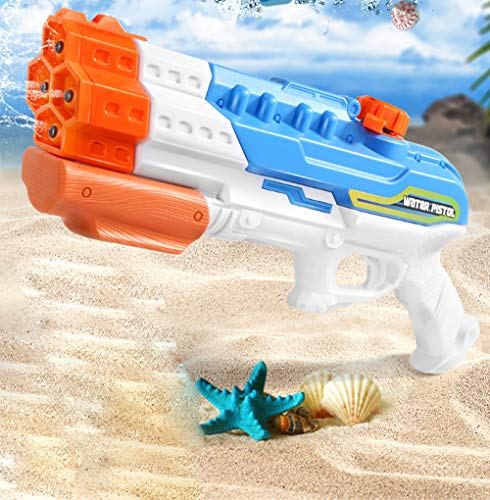 QINGTIAN 4 Düse Wasserpistole Wasserpumpe Aktion Fernwasserpistole Spritzpistole 1,2 Liter Wassertank Outdoor Strand Garten Spielzeug Kinder Wasserkriegsspielzeug Erwachsener