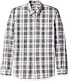Amazon Brand - Goodthreads Men's Standard-Fit Long-Sleeve Chambray Shirt, Denim Ivory Plaid, Small