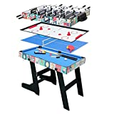 4FT 4 in 1 Multi Sports Game Table, Folding Combo Table-Pool Table/Snooker Table,Soccer Foosball Table, Air Hockey Table, Table Tennis Table