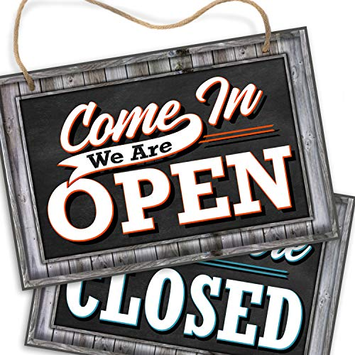 Bigtime Signs Open Closed Sign for Business Door - Reversible Double Sided with Rope for Hanging - Come In We're Open Sorry We're Closed Signs Decor - 1/4 inch Thick PVC - 8 inch x 12 inch - Rustic Wood Frame Look Printed Design