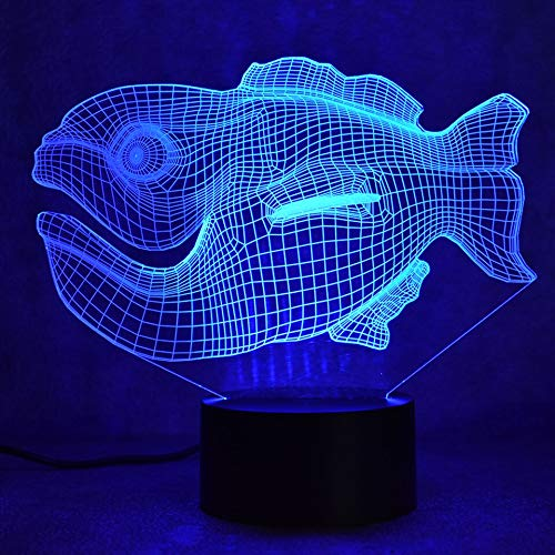 LLZGPZXYD 3D LED Home Atmosphere tafellamp, USB, creatief, vis, smal model, slaapkamerlamp, nachtlampje, bevestiging Remote And Touch