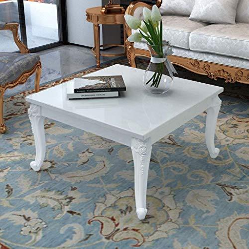 vidaXL Hochglanz Couchtisch Beistelltisch Kaffeetisch Wohnzimmer 80x80x42cm Weiß