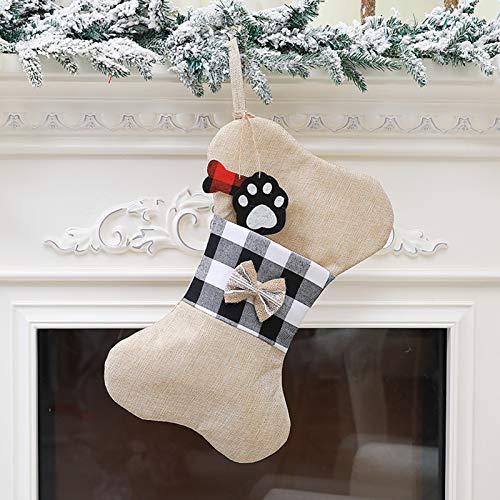 Meias de Natal para animais de estimação Enfeite de Natal para cães Xadrez Arco Osso Borlas de presente Bolsa reutilizável