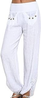 Gergeos Women Cotton Linen Wide Leg Pants Loose Buttons Ladies Pants Casual Trousers