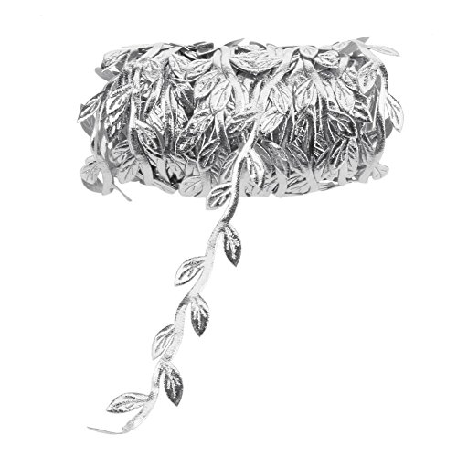 Demiawaking 10m Leaf Vine Garland Satin Ribbon String Trim Artificial Leaves Home Wedding Christmas Decoration (Silver)