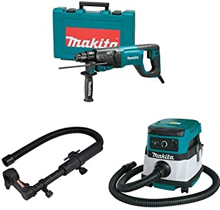 Makita HR2641 1-Inch AVT Rotary Hammer, accepts SDS-PLUS bits (D-Handle), 193472-4 Dust Extraction Attachment, XCV04Z 18V X2 LXT (36V) 2.1 Gallon HEPA Filter Dry Dust Extractor/Vacuum