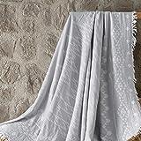 ElfRoutes Mantas para sofá y cama, muy grandes (140 x 160 cm), 100% algodón, para sofás, color gris claro
