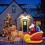 Papá Noel con Trineo Renos Hinchable Inflable De Navidad Iluminación Luces De Exterior Interior Renos Voladores Y Regalos Luces LED Adorno Decoración De Trineo De Alces Decoraciones Navideñas