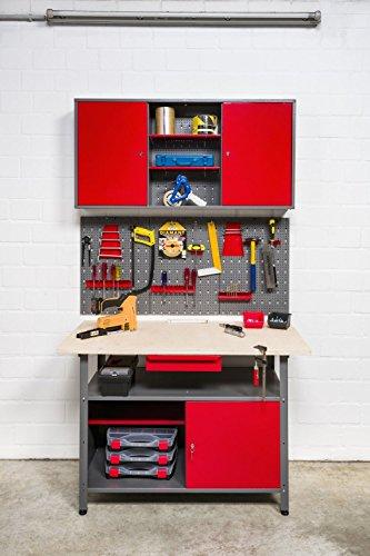 Kreher XXL Werkstatt aus Metall. Werktisch mit abschließbarer Tür und Schublade, Werkzeuglochwand 17 Teile und Werkzeugschrank aus Metall zum Aufhängen mit Böden.