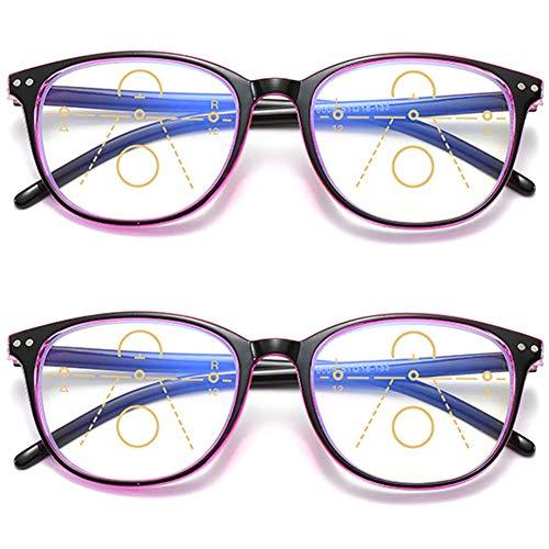 KOOSUFA Gleitsichtbrille Progressive Multifokus Lesebrille Damen Herren Anti-Blaulicht Sehhilfe Retro Lesehilfe Anti Müdigkeit Brille 1,0 1,5 2,0 2,5 3,0 3,5 4,0 (2x Schwarz-rot, 2.0)