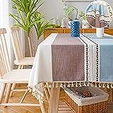 Manteles Rectangular Mantel Mesa Lino Algodon Manteles Antimanchas, Bordado Table Cloth con Borlas Tela Lavable, para Cocina Comedor Cuadrado- Field Brown   110x170cm. 4seats