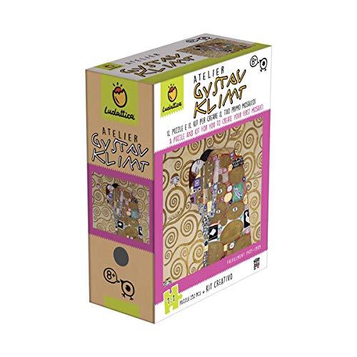 Ludattica Art Games Atelier Puzzle Mosaico Gustav Klimt Il Bacio 252 Pezzi Scala 1:1 con Kit Creativo
