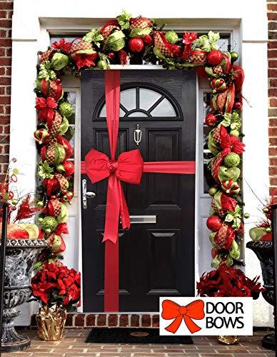 Lazos para Puerta de Navidad, Color Rojo Satinado Acolchado, decoración de Navidad con Cinta de Regalo, decoración de Tiendas, Decoraciones de Navidad
