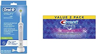 Oral-B Vitality FlossAction Rechargeable Battery Electric Toothbrush with Automatic Timer with Crest 3D Whitening Toothpaste Radiant Mint, 2 Count