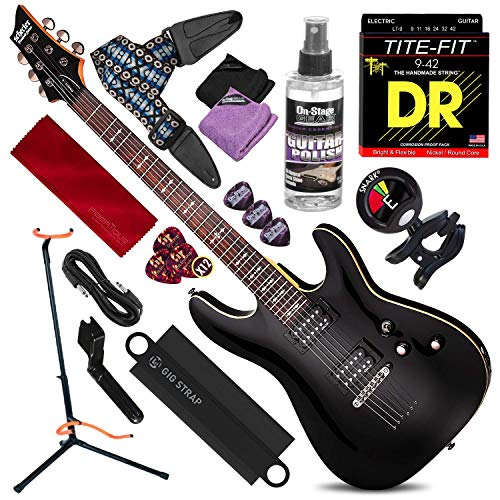 Schecter OMEN-6 6-String Electric Guitar (Black) with Guitar Stand & Clip-On Tuner Deluxe Guitar Kit Bundle