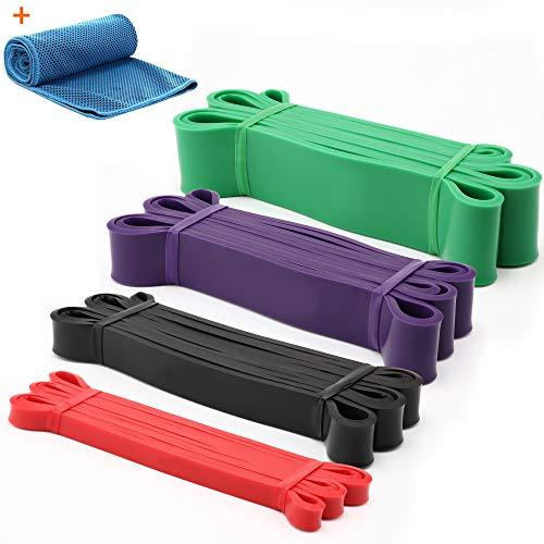 Gonex Elastiche Fitness, 4 Set 100% Naturale Fasce Allenamento di Resistenza, Bande Elastiche Resistenza con Panno rinfrescante e Borsa, Loop Resistance Bands per Stretching, Potenziamento Muscolare