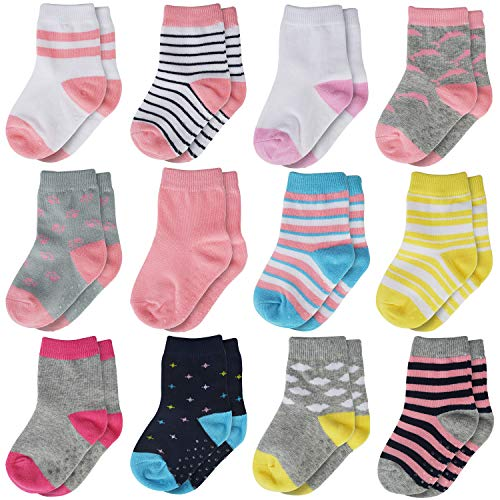 HELN Crew Grip Socks Anti Slip Non Skid Sock for Baby Toddler Infant Newborn Kids Girls 12 Pairs (0-9 Months, Multi)