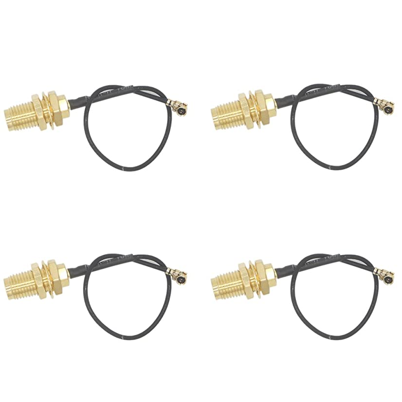 EIGHTNOO U.FL(IPEX/IPX) Mini PCI to RP-SMA Female Pigtail Antenna Extension Cable 1.13 Cable 10cm Pack of 4