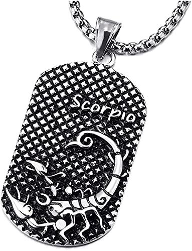 banbeitaotao Collar Vintage St Acero Horóscopo Signos del Zodiaco Escorpio Etiqueta de Perro Collar con Colgante Negro Oxidado con 30 Pulgadas Cadena de Trigo Doce Constelaciones Hombres Mujeres
