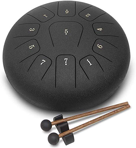 GUNAI Steel Tongue Drum 12 Inch 11-Tone C Key Pan Drum Percussion Instrument with Mallets,Carry Bag,Music Book, Great for Yoga, Meditation, Relieves Stress