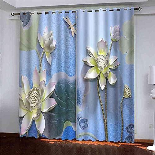 JNWVU 3D Digital Printing Pink Window Eyelet Lotus Sale Curtains 55% OFF Bla