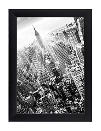 FRAMO 35 mm Bilderrahmen DIN A3 (29,7 x 42 cm Bildmaß), Farbe: Schwarz Matt, handgefertigter MDF Rahmen mit Anti-Reflex Kunstglasscheibe, Rahmen Breite: 35 mm, Außenmaß: 35,5 x 47,8 cm
