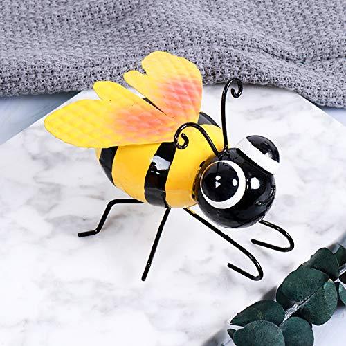 ninRYA Metal Bumble Bee Decorations, Metal Bumble Bee Wall Ornament, Garden Accents Yard Fence 3D Sculpture Ornaments, Lawn Ornaments Wall Decor of Coffee Shop Bar (2PC)