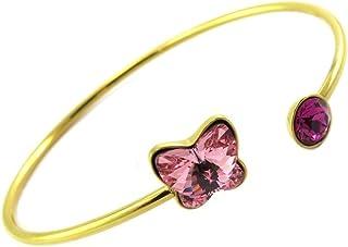 Lily-Crystal [P6772] - Bracciale fatto a mano in acciaio 'Bohème' in oro rosa (farfalla).