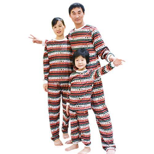 BOZEVON Pigiama della Famiglia di Natale - Famiglia Natale Holiday Stampa Unica Comodo Pigiama Top + Pantaloni Sleepwear,Rosso (per Bambini),Tag 8/9T