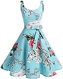 Bbonlinedress - Vestido de cóctel de los años 50, diseño vintage de lunares, pinup, retro Flor verde...