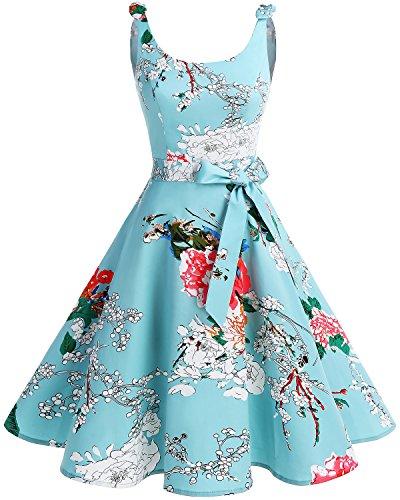 Bbonlinedress - Vestido de cóctel de los años 50, diseño vintage de lunares, pinup, retro Flor verde. M