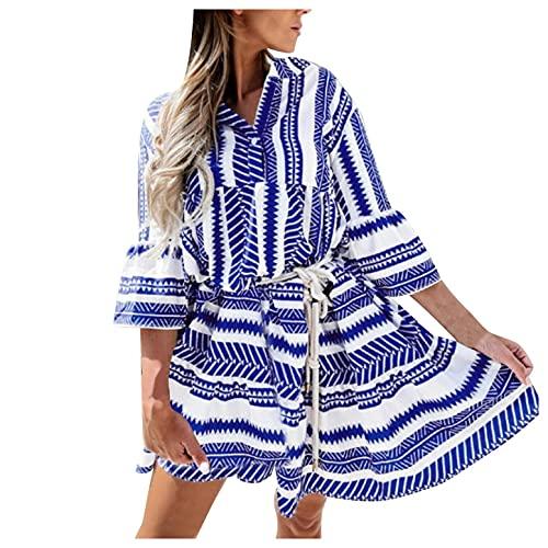 GFGHH Vestido de mujer con estampado de tnica, para el tiempo libre, cuello en V, para citas, fiestas, estilo tnica, de manga larga, para fiestas, playa, blusas y ccteles., azul, S chiquita